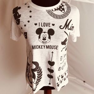 Disney black/white Mickey Mouse high-low t-shirt